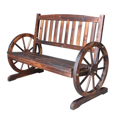 wheel bench foxhunter wooden garden wheel bench 2 seat seater burnt