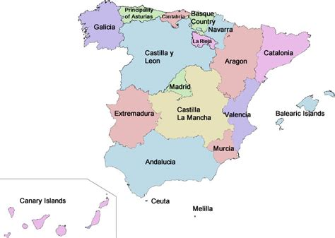 map of spain and regions map of spain map pictures