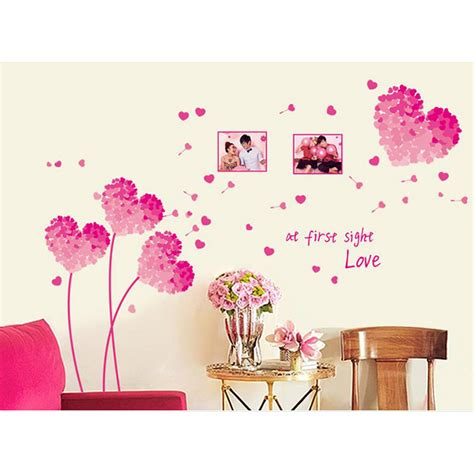 Love Decorations For The Home | aliexpress com buy heart 3d wall stickers pink love