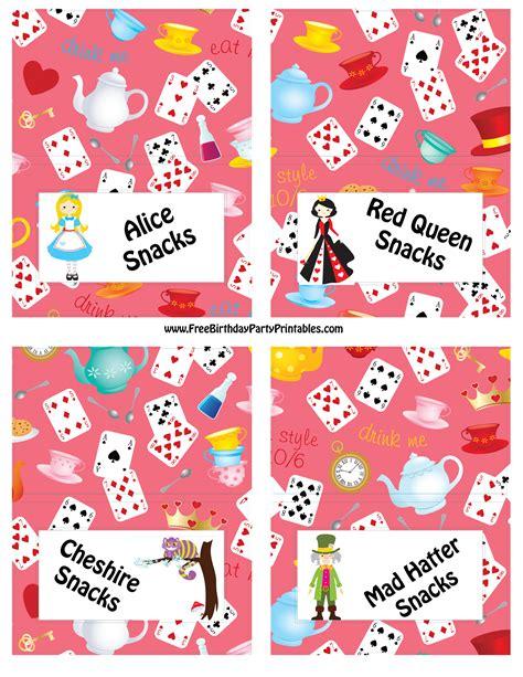 alice in wonderland printable party decorations alice in wonderland birthday party food cards