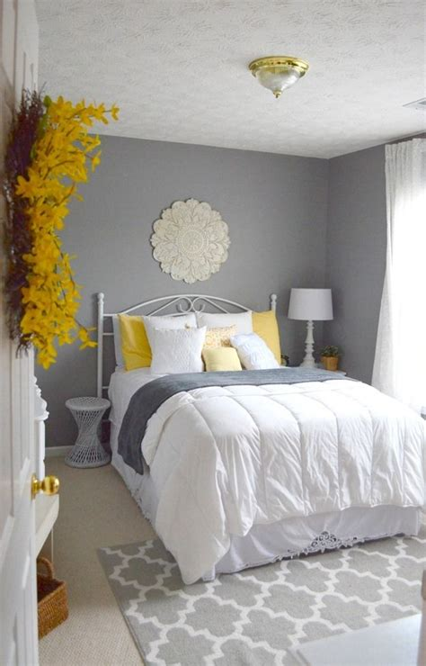 guest bedroom gray white  yellow guest bedroom