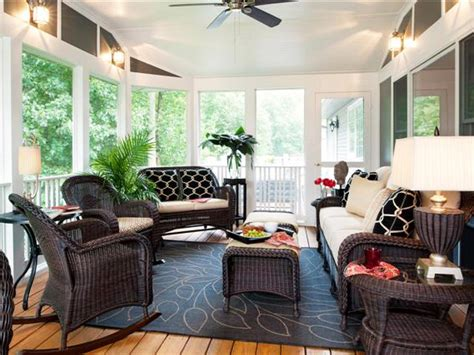 Screen Porch Decorating Ideas | relaxing eclectic sunroom shelley rodner hgtv