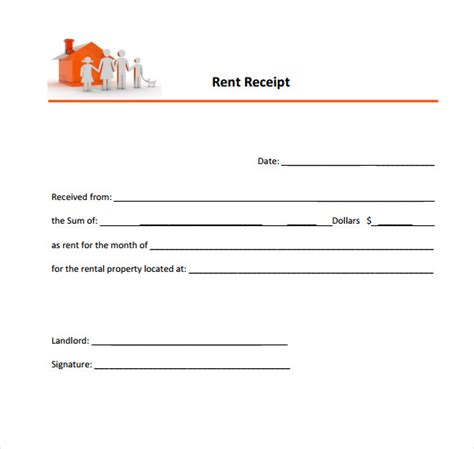 rent receipt template 8 rent receipt templates free sles exles format