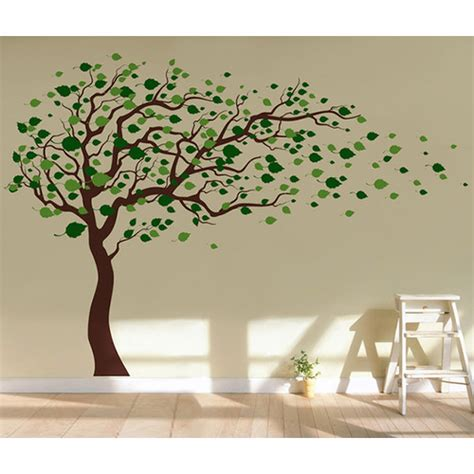 wall removable stickers pop decors tree blowing in the wind removable vinyl