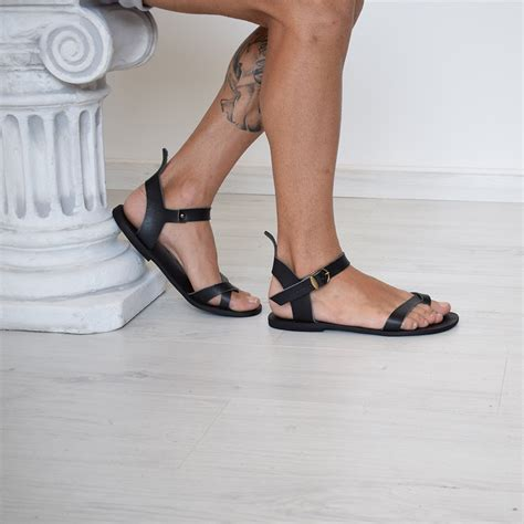 sandals that are for your mens gladiator sandals black leather ankle cuff specks