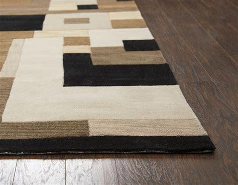 craft abstract block pattern wool runner rug  brown