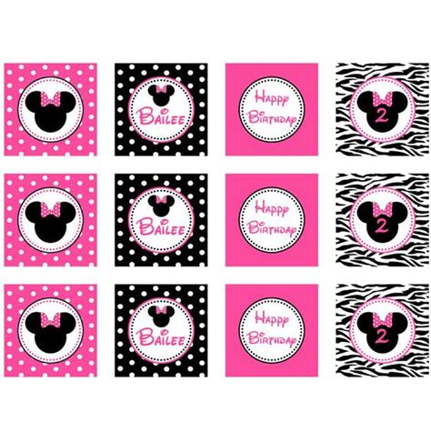 printable zebra cupcake toppers minnie mouse free printables minnie mouse pink zebra