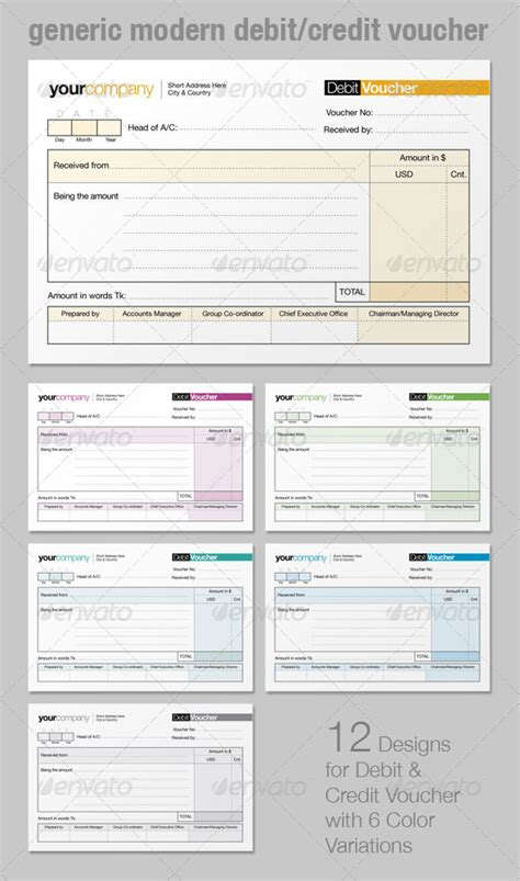 Credit Voucher Template Generic Modern Debit Credit Voucher Graphicriver