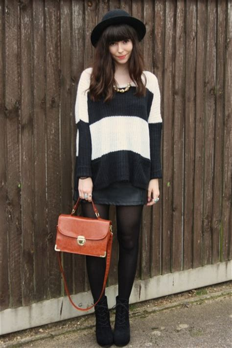 black leather skirts striped knit sweaters quot black