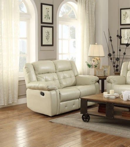 palco modern ivory faux leather double reclining loveseat  classy home