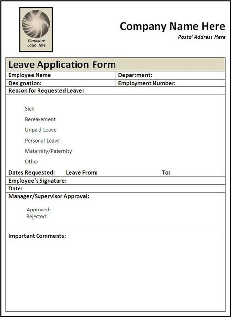 leave form sle leave application form wordstemplates