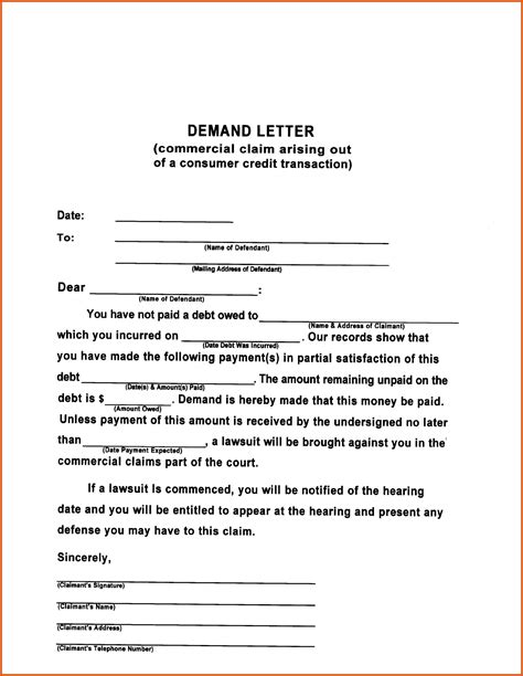 Demand Letter Generally Demand Letter Template General Resumes