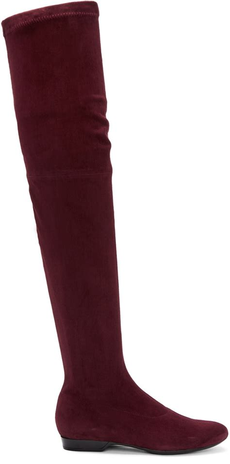 burgundy the knee boots robert clergerie suede fetel the knee boots