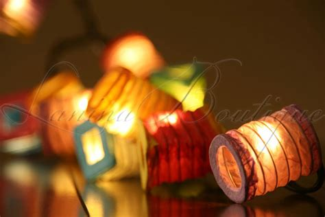 lantern lights string 20 multicolour battery operated mini paper lantern
