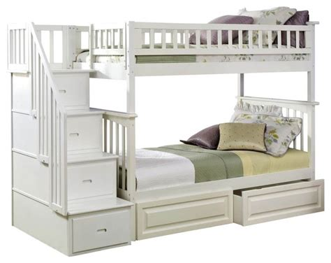 white solid wood twin over twin bunk bed with storage