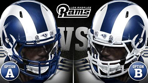 who is the for the rams rams will don blue and white helmet design of fearsome