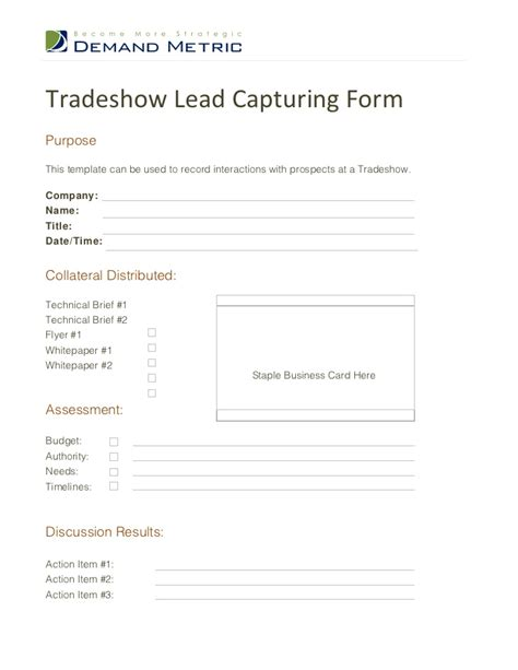 Lead Capture Template Tradeshow Lead Capturing Form