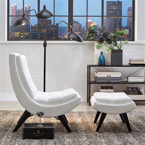 white faux leather chair with ottoman homesullivan white faux leather chair with ottoman
