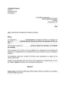 Modèle De Lettre Pour Un Notaire Lettre De Demande De Renseignements 224 Un Notaire En Vue D Une Donation Mod 232 Le De Lettre