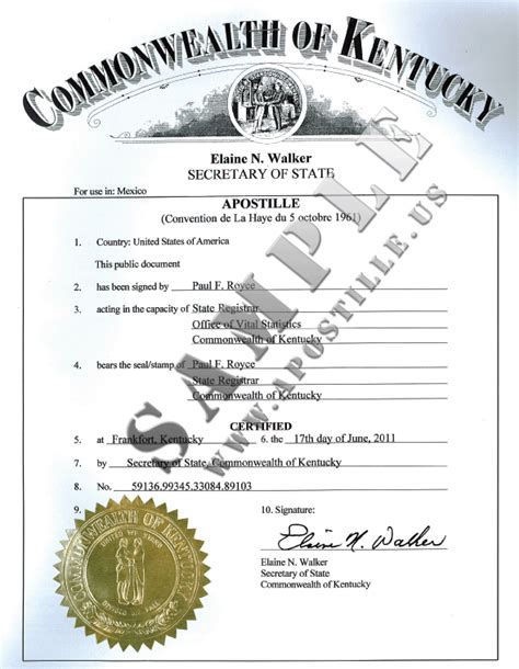 Kentucky Vital Records Birth Certificate Authentications Of Documents State Kentucky