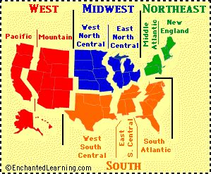 us map with capitals and regions us geography activities esl resources