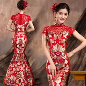 Floral brocade qipao modern mermaid bridal wedding gown modern qipao