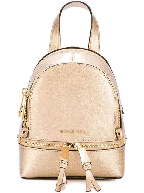 Michael Kors Rhea Backpack Mini 2 michael michael kors rhea zip mini leather backpack in metallic lyst