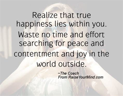 Realize that true happiness lies within you. Waste no time ...