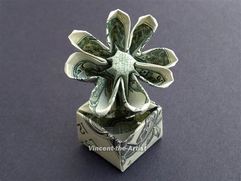 Dollar Bill Origami Flower Easy - items similar to flower in a pot dollar origami great
