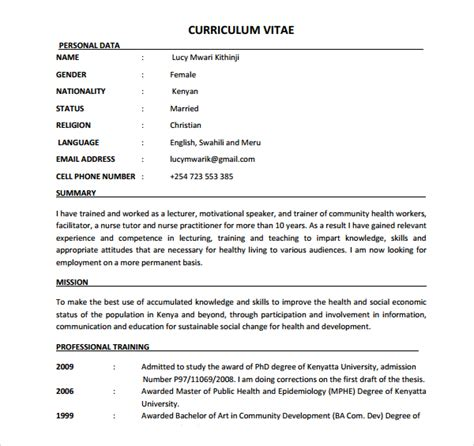 Nursing Resume Template Pdf Sle Cv 26 Documents In Pdf Word