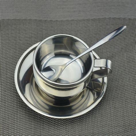 Set Piring Gelas Teh set gelas sendok piring kopi stainless steel silver jakartanotebook
