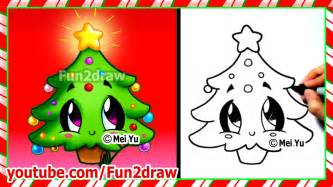 easy drawings how to draw christmas tree cute
