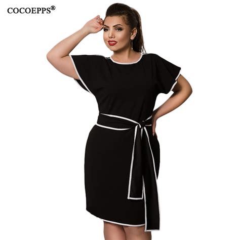 Big Size Cocoepps Patchwork Dress Big Size Butterfly Sleeve