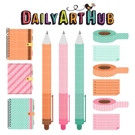 free printable planner art colorful planner clip art set daily art hub free clip