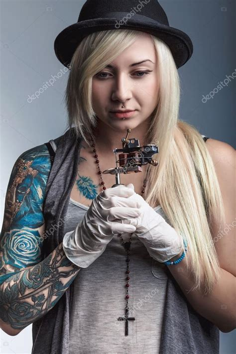 beautiful girls with tattoos beautiful artist with tattoos stock photo