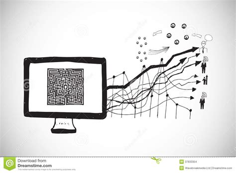 doodle on pc composite image of maze on computer screen with arrows