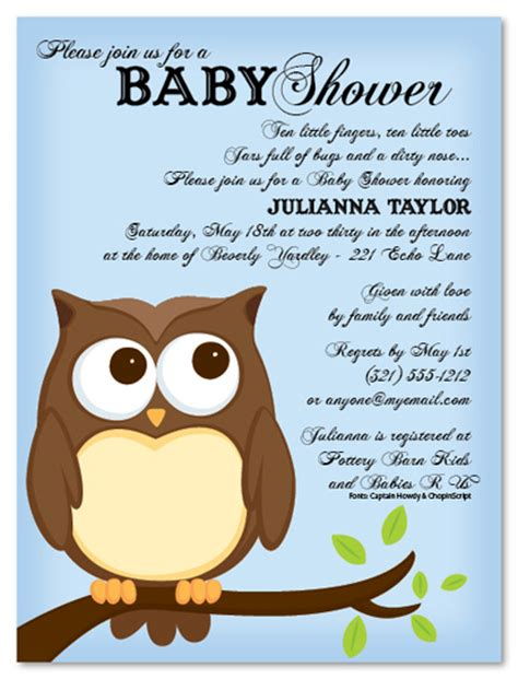 Baby Shower Invitations With Owl Theme by Owl Baby Shower Invitations Baby Shower Decoration Ideas