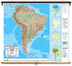 physical map of south america and central america advanced south america physical classroom map on roller