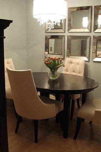 great small dining room gray walls mirrors   wall