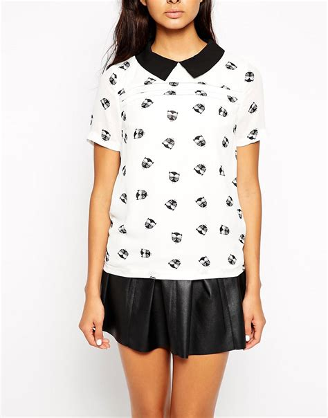 1226 Owl Blouse 3 max c max c blouse with collar in owl print at asos