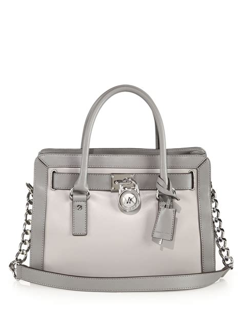Two Tone Satchel michael michael kors hamilton two tone leather satchel in
