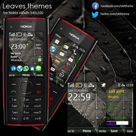 download themes nokia x2 nth leaves theme for nokia s406th 240x320 x2 00 wb7themes