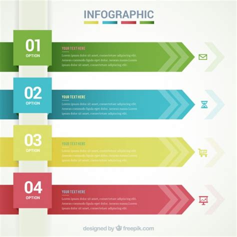 graphics template infographic template with arrow banners vector free