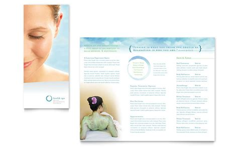 spa brochure templates free day spa resort brochure template design