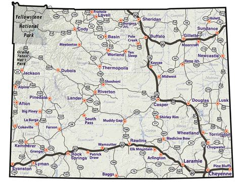 printable wyoming road map maps update 800573 wyoming travel map travel