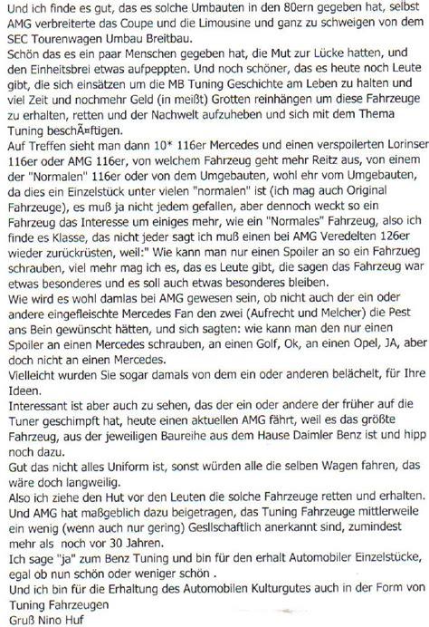 Autobild Leserbrief by Mb Exotenforum Sonderkarossen Umbauten Tuning