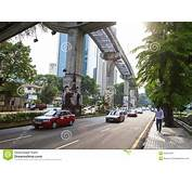 City Street And Monorailin Kuala Lumpur Malaysia