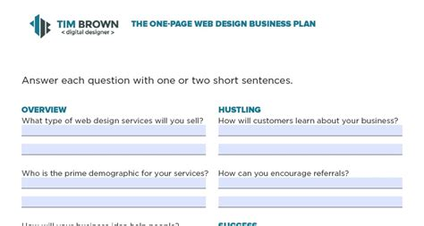 web design business plan template web design business plan one page template more