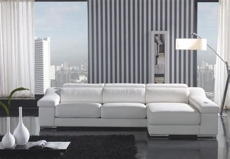 White Leather Sectional Sofa With Chaise White Leather L Shape Sectional Sofa With Chaise Modern Living Room Los Angeles By