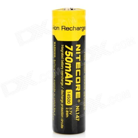 Nitecore 14500 Baterai Li Ion 850mah 3 7v Nl1485 nitecore rechargeable li ion 3 7v 750mah 14500 battery black yellow free shipping